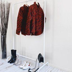 Zara Burgundy Animal Print Oversized Jacket